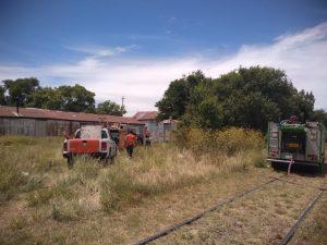 Defensa civil auxilió en incendio de vagón