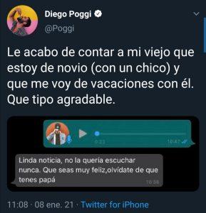 Diego Poggi contó a su padre que es homosexual