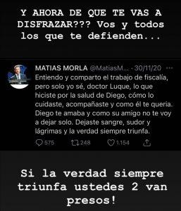Dalma Maradona quiere a Luque y Morla presos